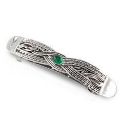 Silver Hair Barrette with Emerald, Emerald Hair Clip, Woven Barrette, Hair Accessory, Hair Clip, one of a kind hair Clip, French barrette by WovenArtJewellery on Etsy Hair Jewelry, Jewelry Art, Jewellery, Silver Bangles, Silver Hair, Hair Barrettes, Hair Clips, Emerald Hair, Twist Weave