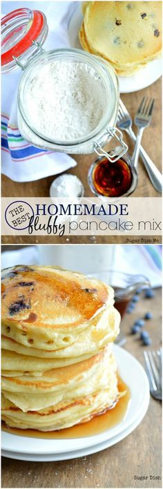 THE BEST Big Fat Fluffy Pancake Mix! Just add milk and egg -- this makes super fast fluffy pancakes in big or small batches. Great for breakfast, brunch, and sleepovers!
