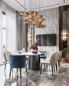 A luxurious charming chandelier is the highlight of the our unique style projects. Every chandelier is hand-crafted, according to our own sketches, and does not one repeat the other.  ~ Роскошная завораживающая люстра - изюминка проектов в нашей уникальной стилистике.  Каждая люстра создается вручную, по нашим собственным эскизам, и ни одна не повторяет другую.   Lobby Interior, Home Interior, Interior Decorating, Interior Design, Family Room Design, Dining Room Design, Dining Area, Dining Rooms, Residential Complex