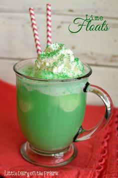 Lime Floats! A fun lime drink for St. Patrick's Day!