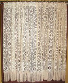Antique Vintage Victorian Net Lace Macrame Drapes Curtains Panels Fringe Trim
