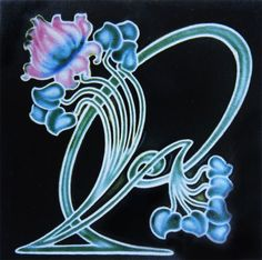 English Art Nouveau tile with a whiplash design made by Henry Richards Tiles, Stoke-on-Trent, around 1905 | JV