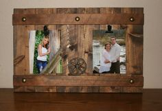 Western Rustic Photo Frame-  Reclaimed Cedar Picture Board-  Distressed Wood Photo Holder- Pallet Frame Home Decor-  Family Picture Board- by DakotaCountry on Etsy