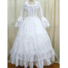 White Lace Long Sleeve Vintage Victorian Wedding Bridal Ball Dress SKU-303058