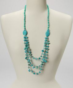 Look at this #zulilyfind! Turquoise Layered Beaded Necklace  Stretch Bracelet #zulilyfinds