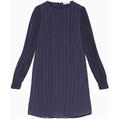 MAX&Co. Dress with stripes and mini polka dots (£159) ❤ liked on Polyvore featuring dresses, anthracite, striped mini dress, puff sleeve dress, shiny dress, blue striped dress and blue dresses