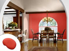 An arched accent wall creates dining drama in a room packed with neutrals. | Gladiola SW6875, @Sherwin-Williams