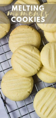 Melting Moments (Butter Cookies) - Deliciously soft, buttery, melt-in-your-mouth cookies that are infused with vanilla, super easy to make, and only requires 6 simple ingredients! Delicious Cookie Recipes, Easy Baking Recipes, Easy Cookie Recipes, Homemade Desserts, Dessert Recipes, Sweet Recipes, Cake Recipes, Yummy Food, Healthy Recipes
