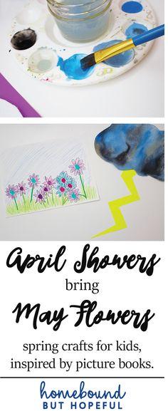 April Showers Bring May Flowers | Spring Arts & Crafts | Kid's Crafts | Inspired by Kid Lit | Art for Kids | Rain Cloud | Fingerprint Flowers