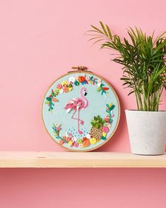 "Mollie Makes on Instagram: ""Arriba! You can't get much more tropical than this incredible flamingo wall art. Make your own in #molliemakes 69, out now. We're also calling for #hoopguts submissions, see more on molliemakes.com X"""