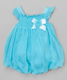 Loving this Blue Bow Shirred Bubble Romper - Infant on #zulily! #zulilyfinds