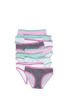 Maidenform  10-Pack Printed Bikini Panties Girls 4-16