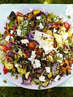Griddled vegetables & feta with tabbouleh Jamie Oliver (made this with Quinoa and it was awesome! Veggie Recipes, Vegetarian Recipes, Cooking Recipes, Veggie Bbq, Grilling Recipes, Meze Recipes, Feta Cheese Recipes, Chicken Recipes, Vegetarian Grilling