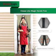 """Magnetic Screen Door New Generation Premium Quality Magnetic Screen Door,Keep Bugs Out, Pet & Toddlers Friendly,Eco-friendly,Hands Free,Close Automatically,Fits Door up to 34""""x82"""" (Black)"""