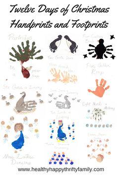 Twelve Days of Christmas Craft - Handprints and Footprints - Using Foot Prints and Hand Prints: Twelve Days Of Christmas, Christmas Art, Christmas Projects, Simple Christmas, All Things Christmas, Xmas, Christmas Ideas, Christmas 2016, Christmas Recipes