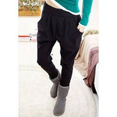 $7.31 Casual Solid Color Comfortable And Warm Fitted Cotton Blend Harem Pants For Women