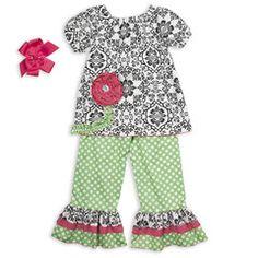 Black Damask Pink Flower Lime Dot Ruffle Pant Set