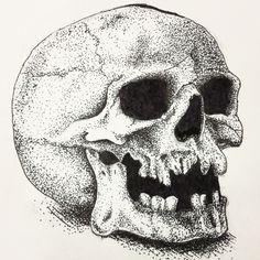 Dotted Drawings, Pencil Art Drawings, Art Sketches, Stippling Drawing, Tattoo Posters, Rendering Art, Snake Art, Skull Design, Skull Art