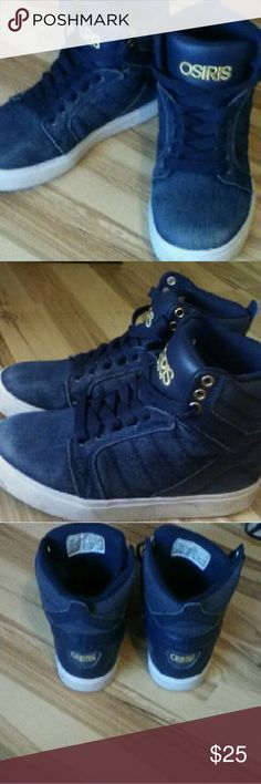 Boys OSIRIS blue jean high top sneakers Gently used Jean high top sneakers Osiris Shoes Sneakers
