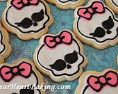 1 Dozen Monster High Skull Sugar Cookies Birthday Party Favors Pink Bow