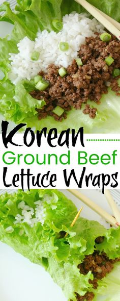 Korean Ground Beef and Rice Lettuce Wraps RecipeYou can find Wrap recipes and more on our website.Korean Ground Beef and Rice Lettuce Wraps Recipe Beef Wraps, Beef Lettuce Wraps, Lettuce Wrap Recipes, Korean Lettuce Wraps, Healthy Eating Tips, Good Healthy Recipes, Clean Eating, Healthy Food, Easy Recipes