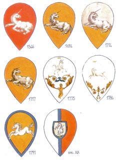 Palio di Siena - i vecchi stemmi delle contrade. Leocorno.