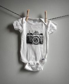 besty dorman - hand printed linocut Pentax K1000 SLR baby onesie