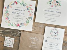 Lily Wedding Invitation Suite with Watercolor Floral Wreath and ...