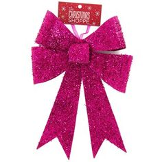 Hot Pink Glitter Ornament Bow