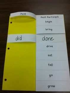 Irregular verbs-  this would work well having the kiddo make a sentence for each word.