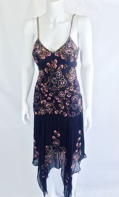 Sue Wong Nocturne Beaded Drop Waist Black Gatsby Dress 2 #SueWong #AsymmetricalHem #Cocktail
