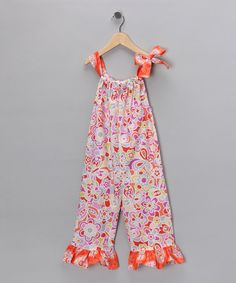 Take a look at this Pink & Orange Ruffle Romper - Infant, Toddler & Girls    by Chatti Patti on #zulily today#zulily #fall