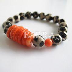 tibetan agate bead bracelet with orange coral