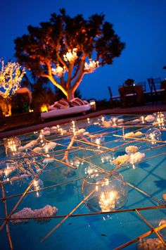 Pool Decor Ideas For Your Backyard Wedding ★ wedding pool party decoration ideas candles and wooden branches alex smith photo Backyard Wedding Pool, Backyard Pool Parties, Outdoor Pool, Garden Wedding, Floating Pool Decorations, Pool Wedding Decorations, Floating Candles, Pool Candles, Wedding Night