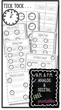 Kick off your telling TIME unit with these FREE printables. Telling time to the hour, half hour, & quarter hour, A.M. & P.M., analog & digital clocks are all covered.