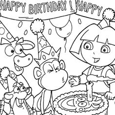 Dora the Explorer coloring page | Birthday coloring pages ...