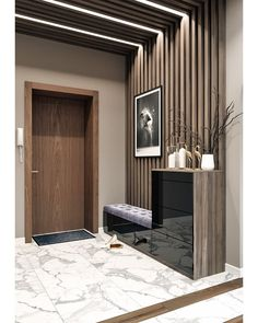 35 Popular Home Entrance Decor Ideas Look Beautiful Foyer Design, Hallway Designs, Home Room Design, Home Interior Design, House Design, Design Design, Modern Apartment Design, Tv Wall Design, Hall Design