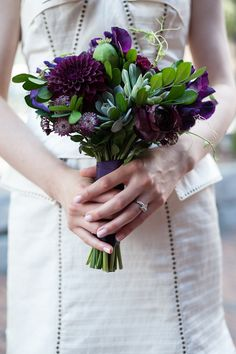 Wedding bouquet- deep purple Dahlias floral mixed with green leaves -posey bouquet style