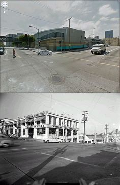 south east corner of lucas avenue and 3rd street 1948 and now by gsjansen, via Flickr