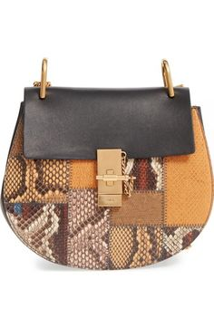 Chloé 'Small Drew' Patchwork Leather & Genuine Python Shoulder Bag available at #Nordstrom
