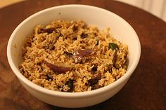 vangi baath (eggplant rice).  a south indian dish.  i want to try making regional indian dishes that i am unfamiliar with.