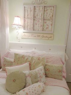 Pink painted old window and add fabric for paynes.