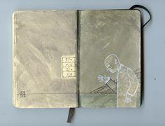 moleskine notebook on mixed media 2013