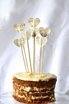Vintage Book and Music Pie Topper, heart cake and dessert picks on Etsy, $0.54 AUD