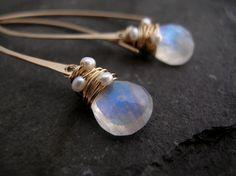 Moonstone and Pearl Hoop Earrings  Moonstone Earrings