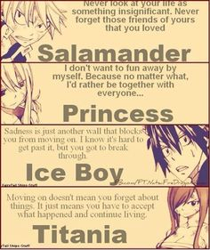 Fairy tail RULES!! You guys think about everyday and why we live and who we live for and some people we know and love might die or pass away but you need to live your life for them
