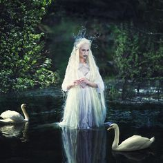 Russian photographer takes fairy tale pictures, swans, lady of the lake, white dress, crown