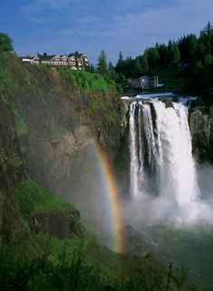 The Cascade Mountain Range bisects the state into two distinct environments  ( Washington State) - This is Snoqualmie Falls and The Salish Lodge - a perfect honeymoon spot not far from Seattle.