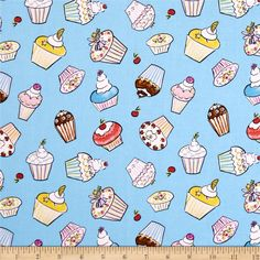 Tiddlywinks Cupcakes Blue from @fabricdotcom  By Dena Designs for Free Spirit, this cotton print fabric is perfect for quilting, apparel and home decor accents. Colors include rust, blue, brown, yellow, white, pink, lavender and light green on a sky blue background.