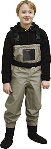 Caddis YOUTH BREATHABLE STOCKINGFOOT WADERS  https://fishingrodsreelsandgear.com/product/caddis-youth-breathable-stockingfoot-waders/  Heavy duty polyester material. CaddisDry breathable technology. Large front pocket. Seams taped, glued & stitched. H-Style adjustable suspenders. Attached gravel guards. Neoprene soles. Free wader belt and repair kit. Size: Standard.